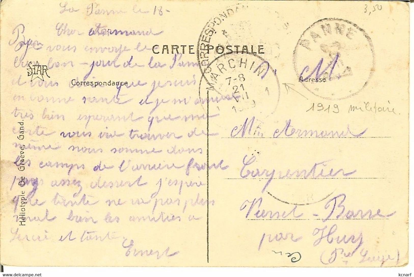 """CP De LA PANNE ( De Panne ) """" Sur La Plage """" Cachet Correspondance Militaire Pour Marchin - De Panne"""