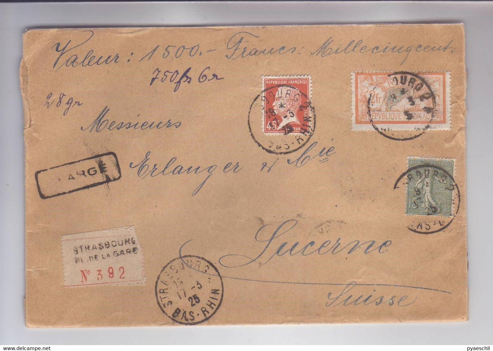 Lettre Recommandée - CHARGE - Strasbourg Pour Lucerne (CH) - Covers & Documents