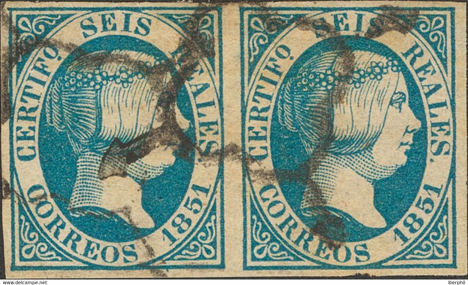 º10(2). 1851. 6 Reales Azul, Pareja. Grades Márgenes Y Matasello Limpio. MAGNIFICA Y MUY RARA. Cert. CEM. Edifil 2020: 2 - Zonder Classificatie