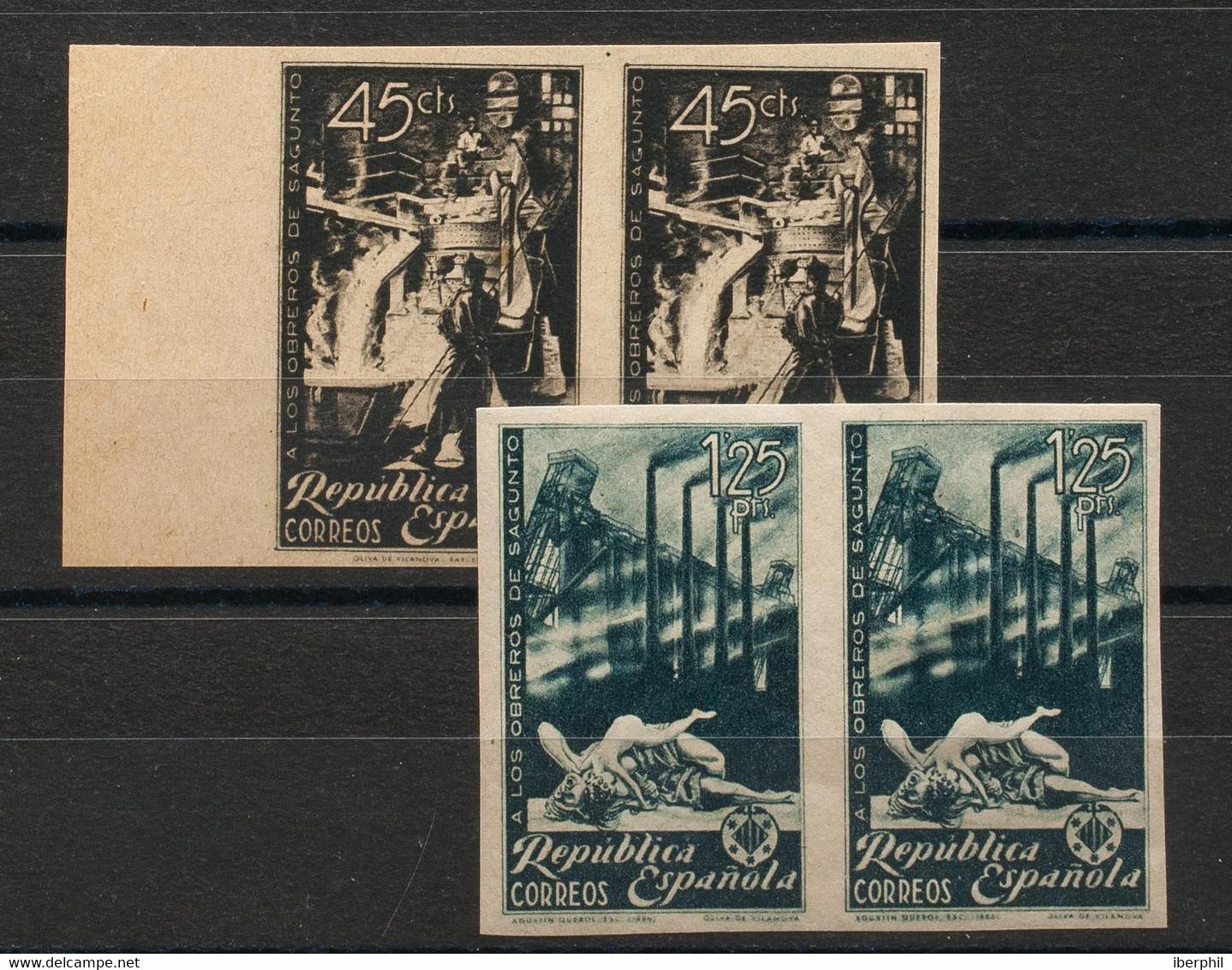 */(*)773/74s(2). 1938. Serie Completa (el 45 Cts Inclusión Natural Del Papel), Pareja. SIN DENTAR. MAGNIFICA. Edifil 202 - Non Classificati