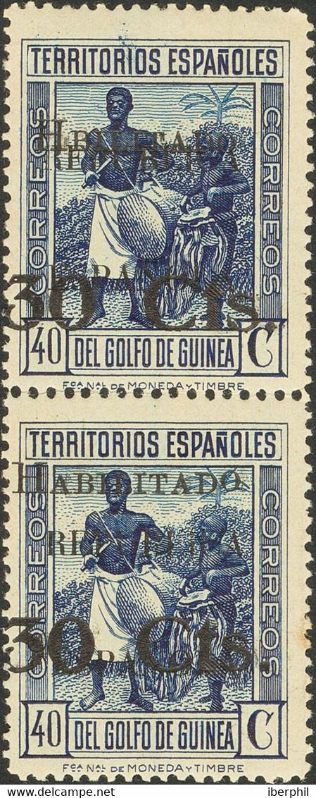 *252, 252hzb. 1937. 30 Cts Sobre 40 Cts Azul, Pareja. Un Sello Variedad HBILITADO. MAGNIFICA. Edifil 2018: +146 Euros - Non Classificati