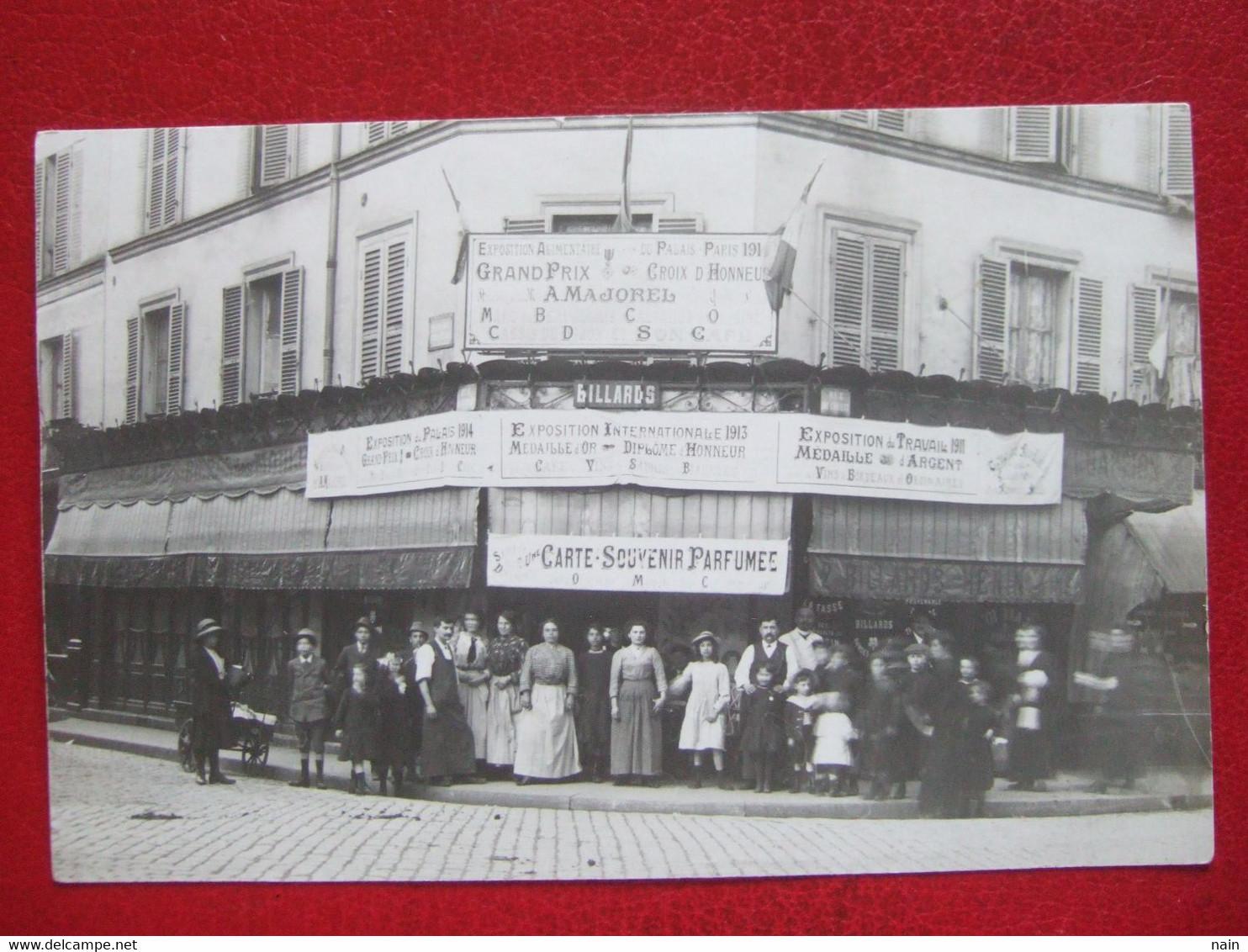 """75 - PARIS  14e - CARTE PHOTO - RUE DU CHATEAU - """" CAFE - EXPO ALIMENTAIRE - A . MAJOREL ....."""" -  """" TRES TRES RARE """" - - Pubs, Hotels, Restaurants"""