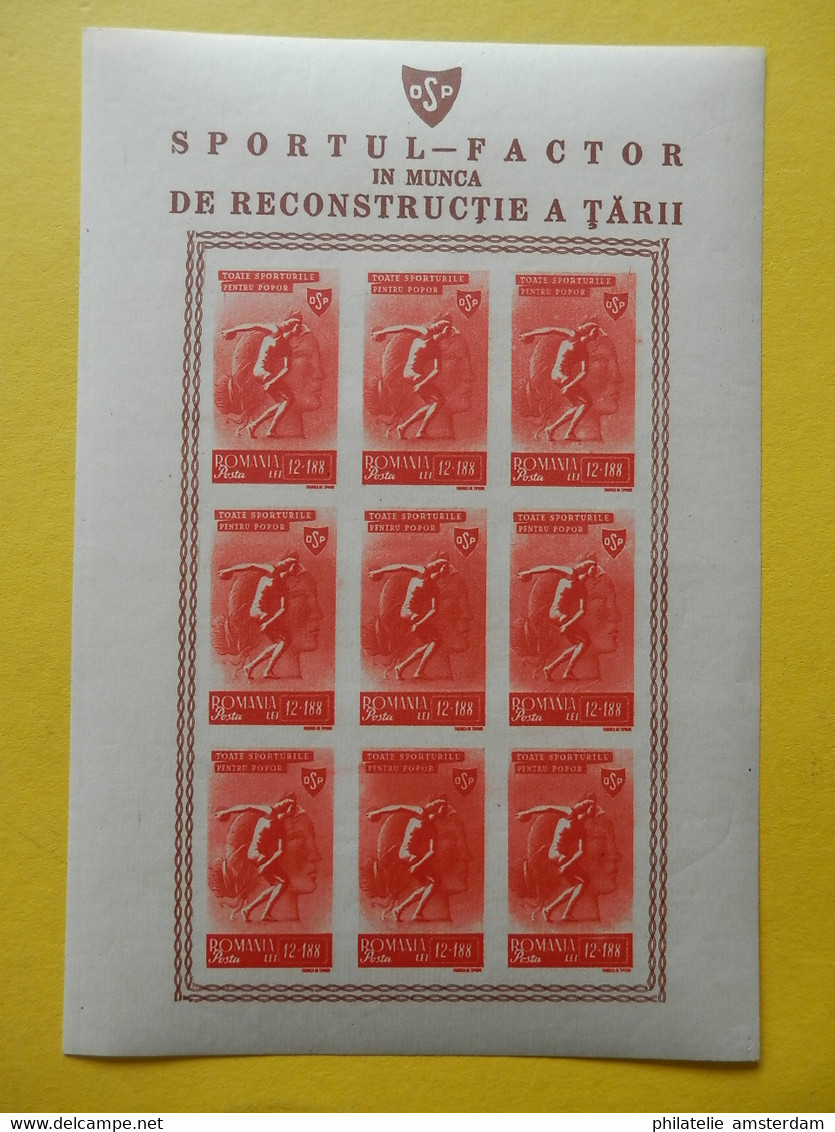 Romania 1945, IMPERF / POPULAR SPORTS FOR REBUILDING THE COUNTRY: Mi 879-83, **, Type B, - 5xKB - Blocks & Sheetlets