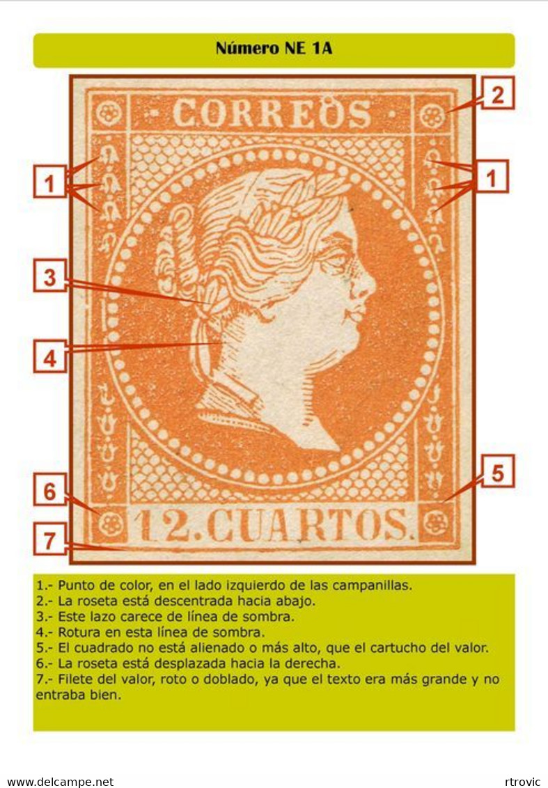 España 1859 - NE-1A Sello No Expendido 12 Cuartos Naranja Primera Tirada Muy Raro - Ver Imagenes - Unused Stamps