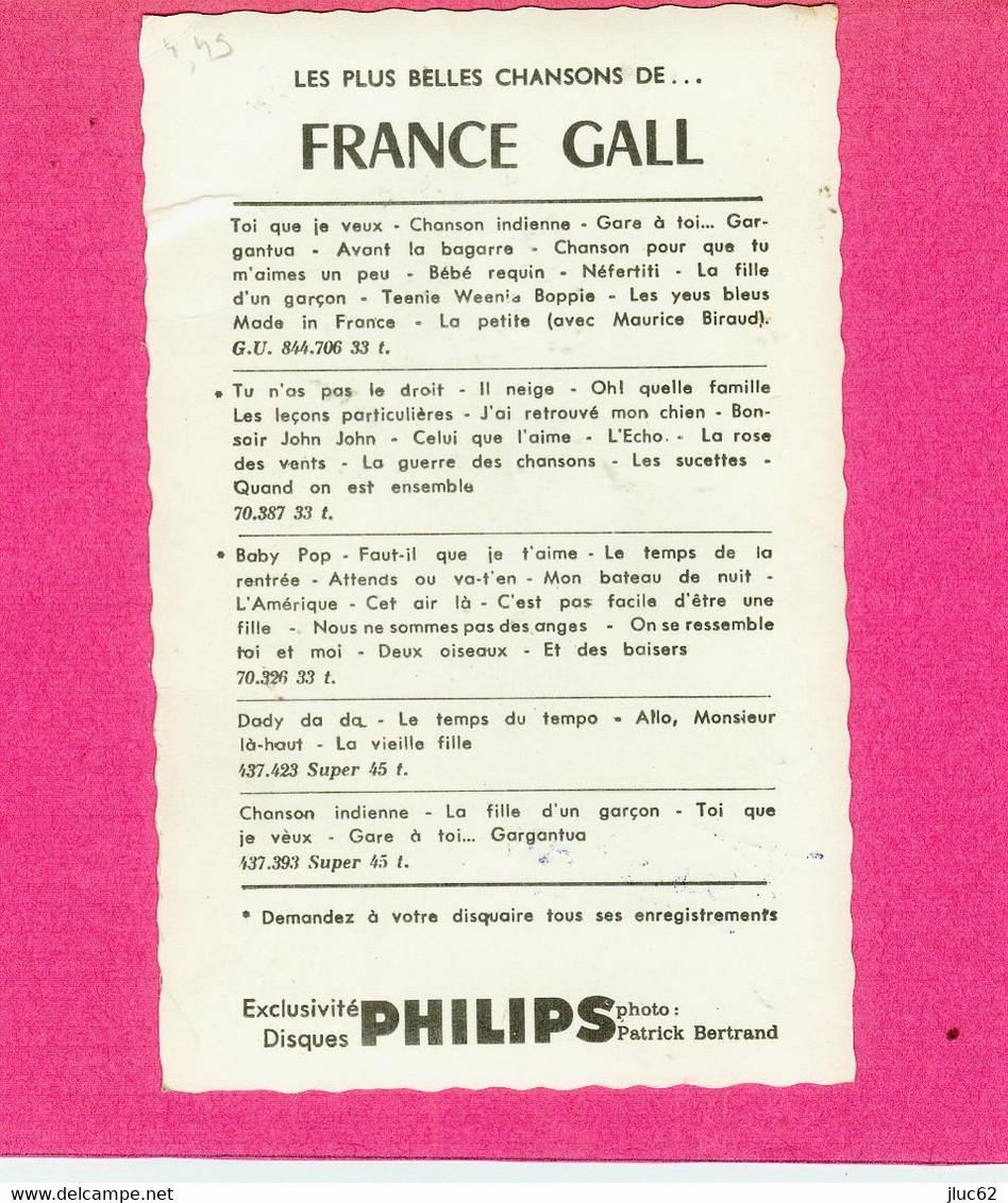 CP.  FRANCE  GALL.  AUTOGRAPHE  SIGNATURE AU STYLO  BILLES - Singers & Musicians
