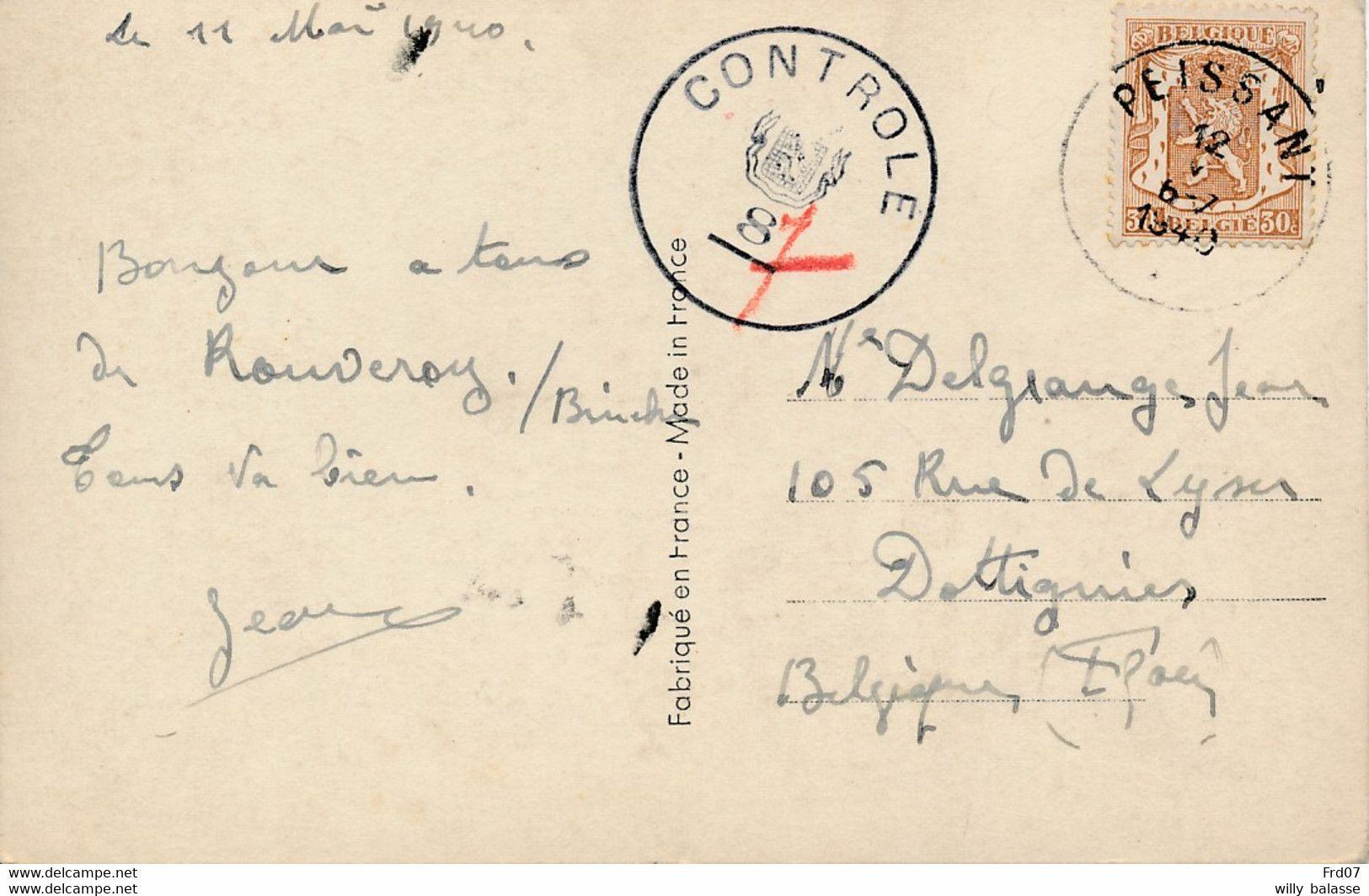 """C Affr N°424 Càd PEISSANT /12/V/1940 + Censure Belge """"CONTRÔLE/8 """"7"""""""" De Mons Pour Dottignies. RRR + Certificat - Covers"""