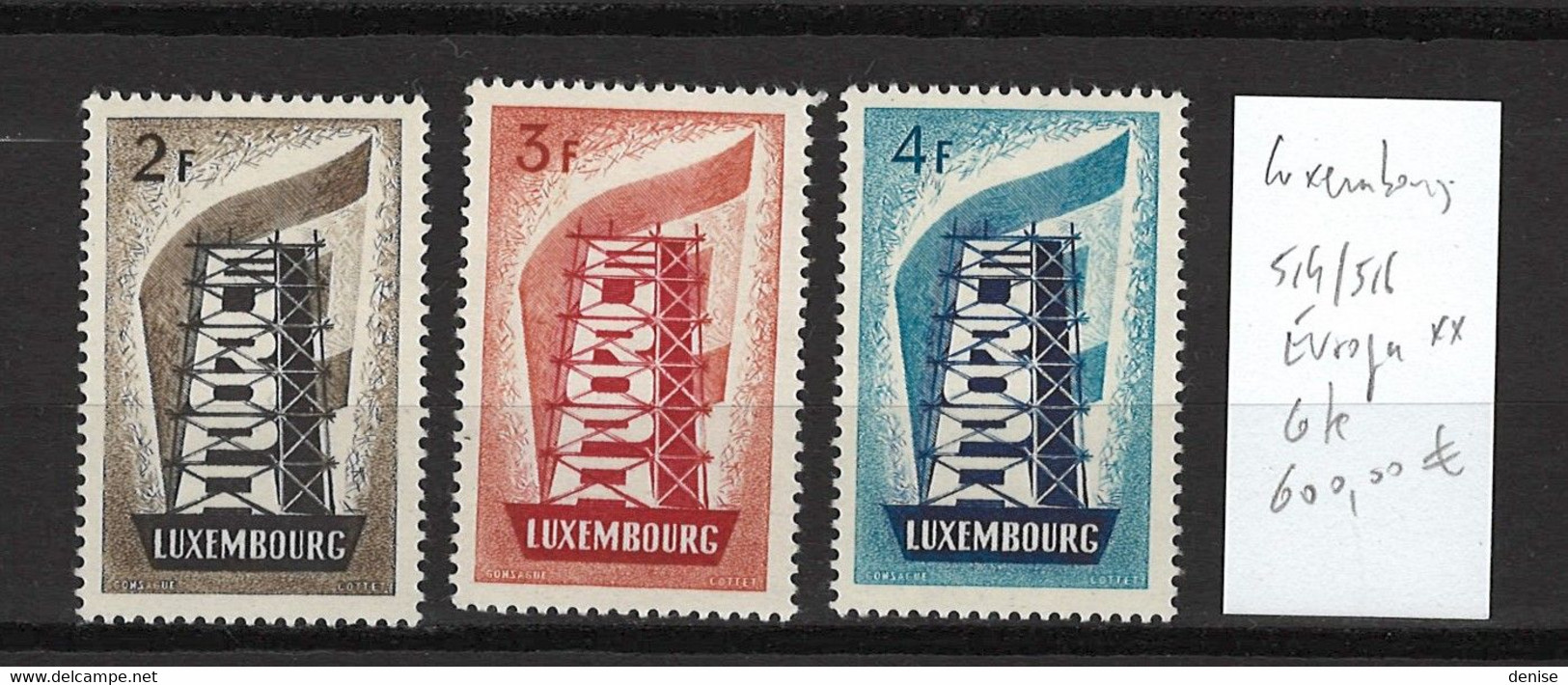 Luxembourg Yvert 514 à 516- Europa - DEPART 1 EURO - 3 Valeurs - SANS CHARNIERE - Unused Stamps