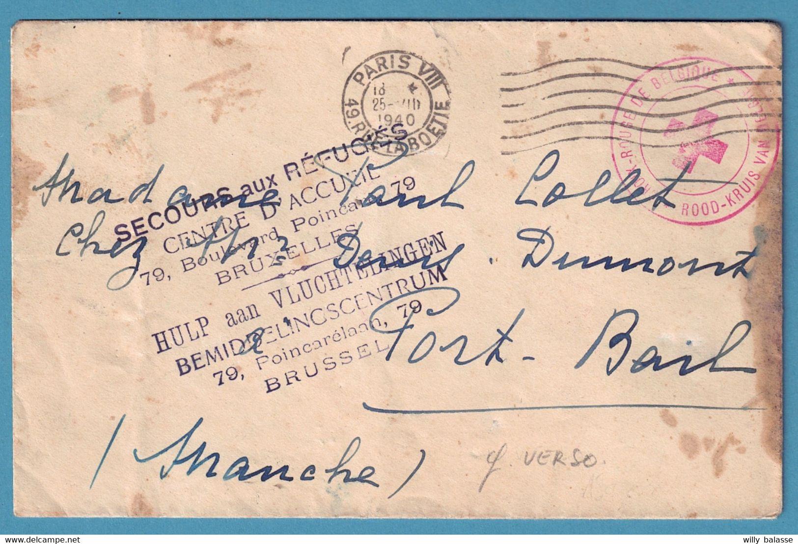 Env Franchise De BRUXELLES (secours Aux Réfugiés) + Càd PARIS/25-VII/1940+ Croix Rouge +++ - Covers