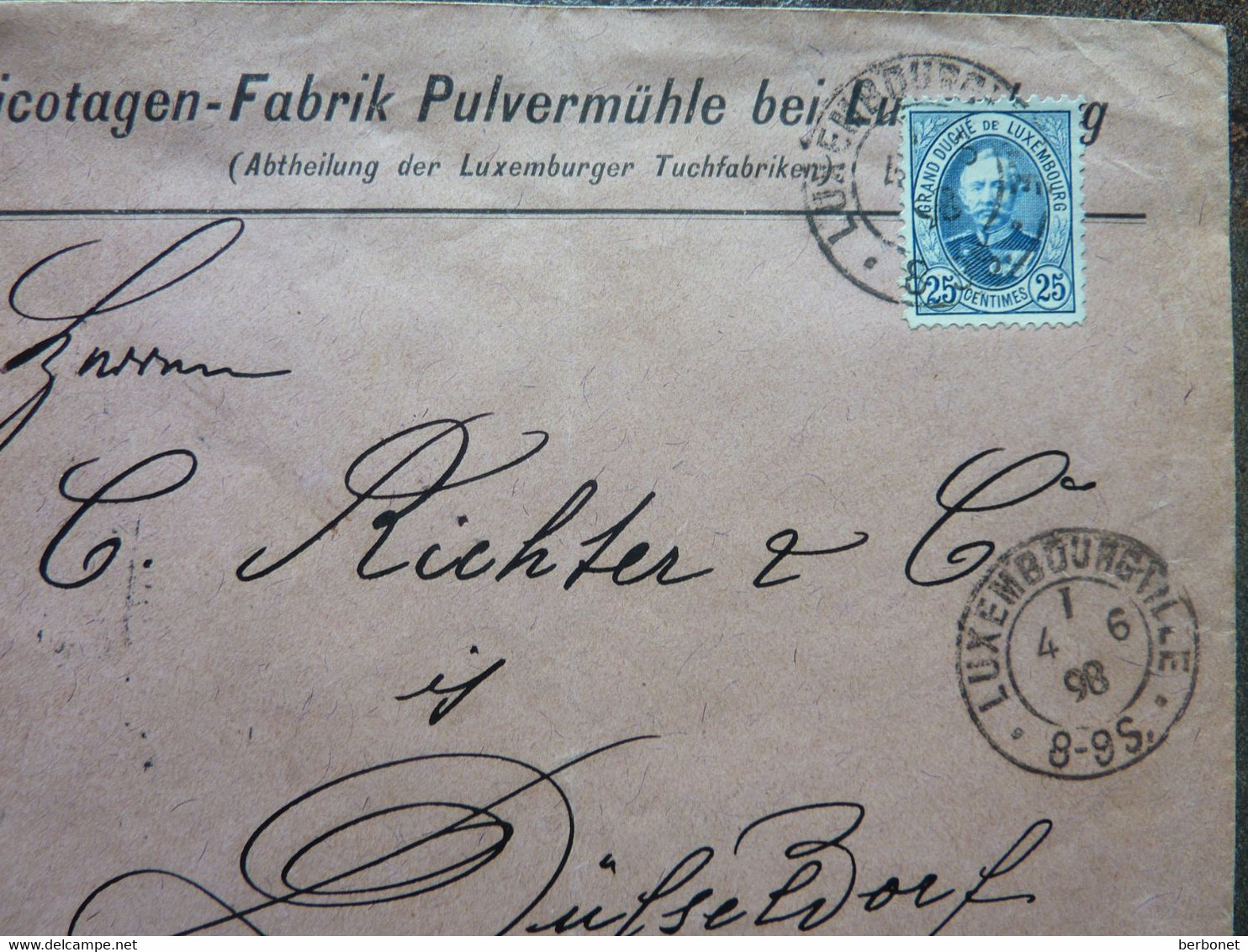 1898  Lettre  25c Cachet Luxembourg - 1891 Adolphe Front Side