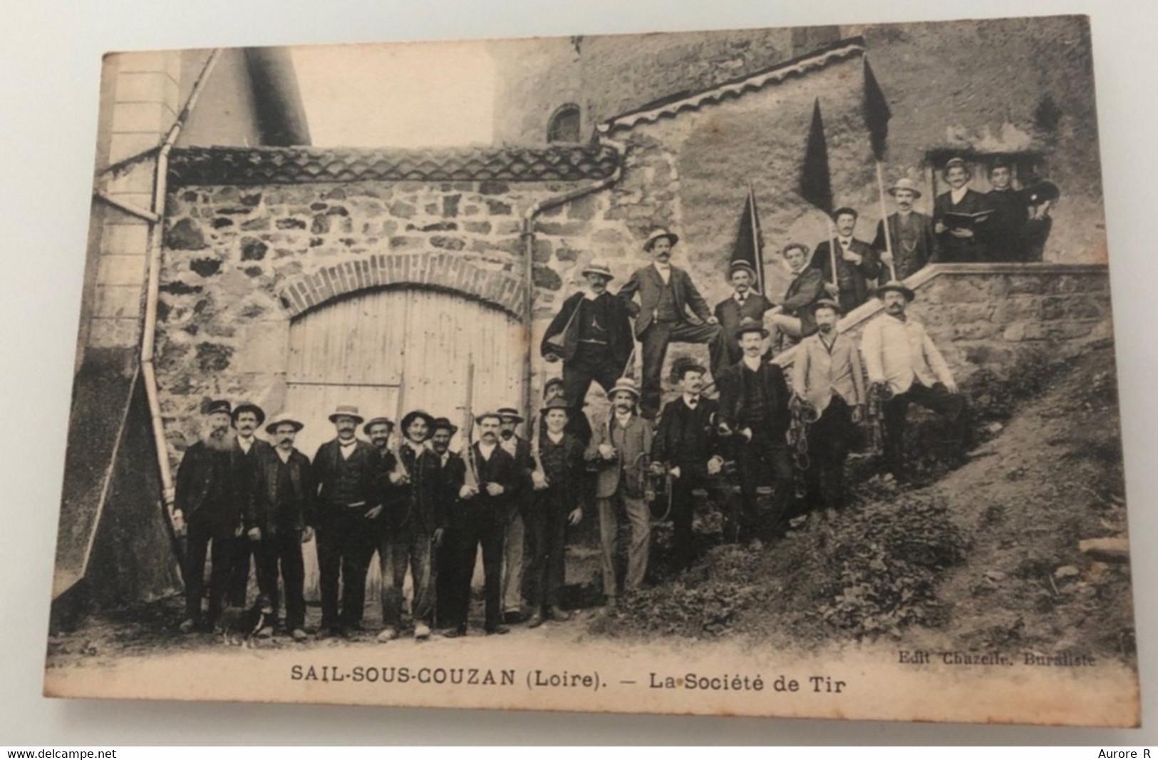 Carte Postale Oblitérée Avec Timbre, 13/08/1910, Sail-Sous-Couzan, La Société De Tir Chez Chazelle, Buraliste - Other Municipalities