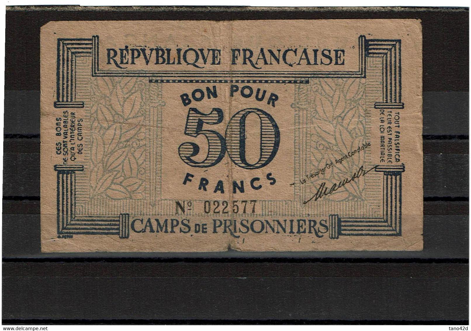 MM14B - BON POUR 50 FRANCS CAMPS DE PRISONNIERS - Bonds & Basic Needs