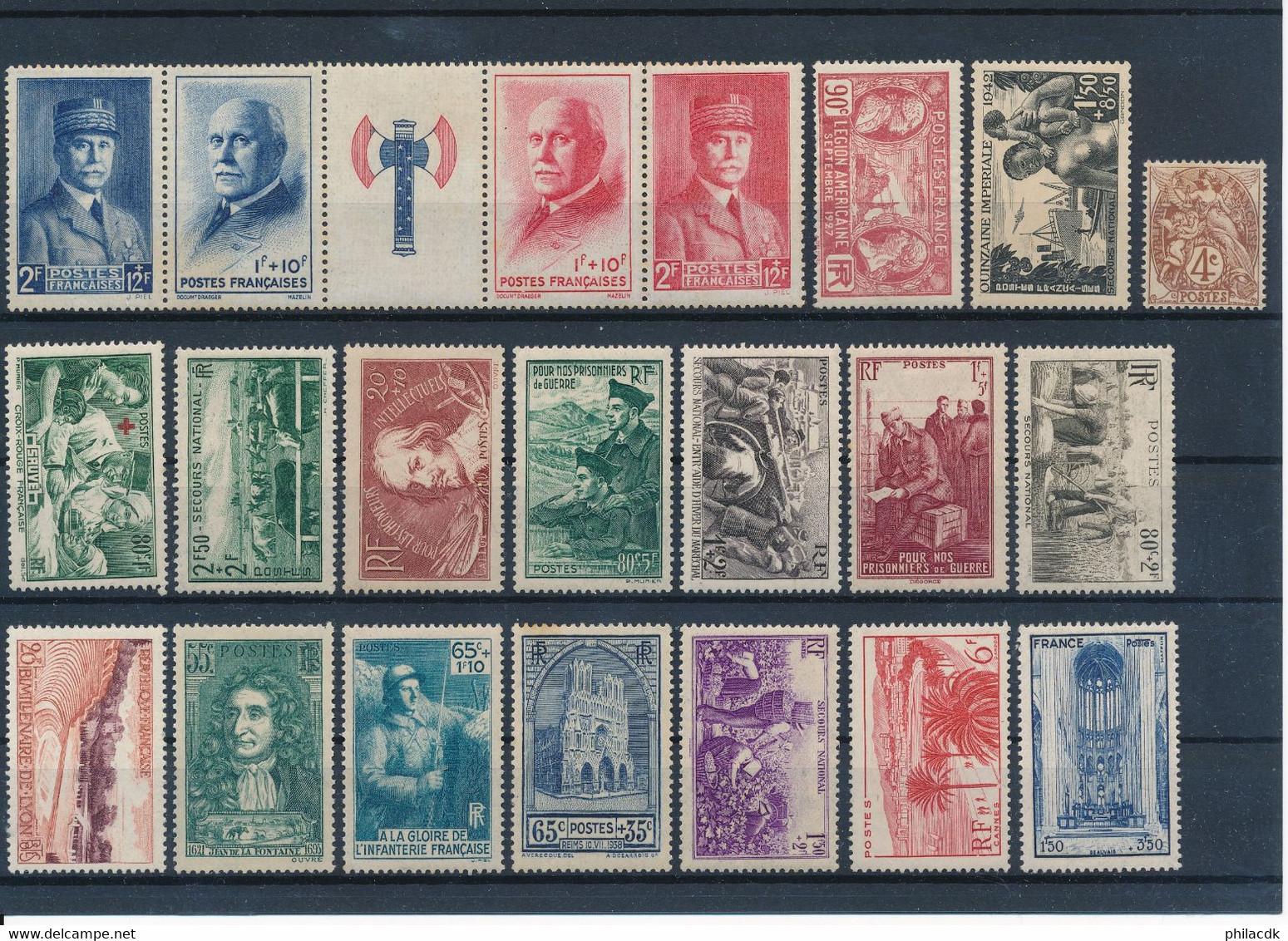 FRANCE - BEAU LOT DE 395 TIMBRES NEUFS* MAJORITAIREMENT AVANT 1940 AVEC GOMME ALTEREE OU CHARNIERE - VOIR SCANNS - Collections