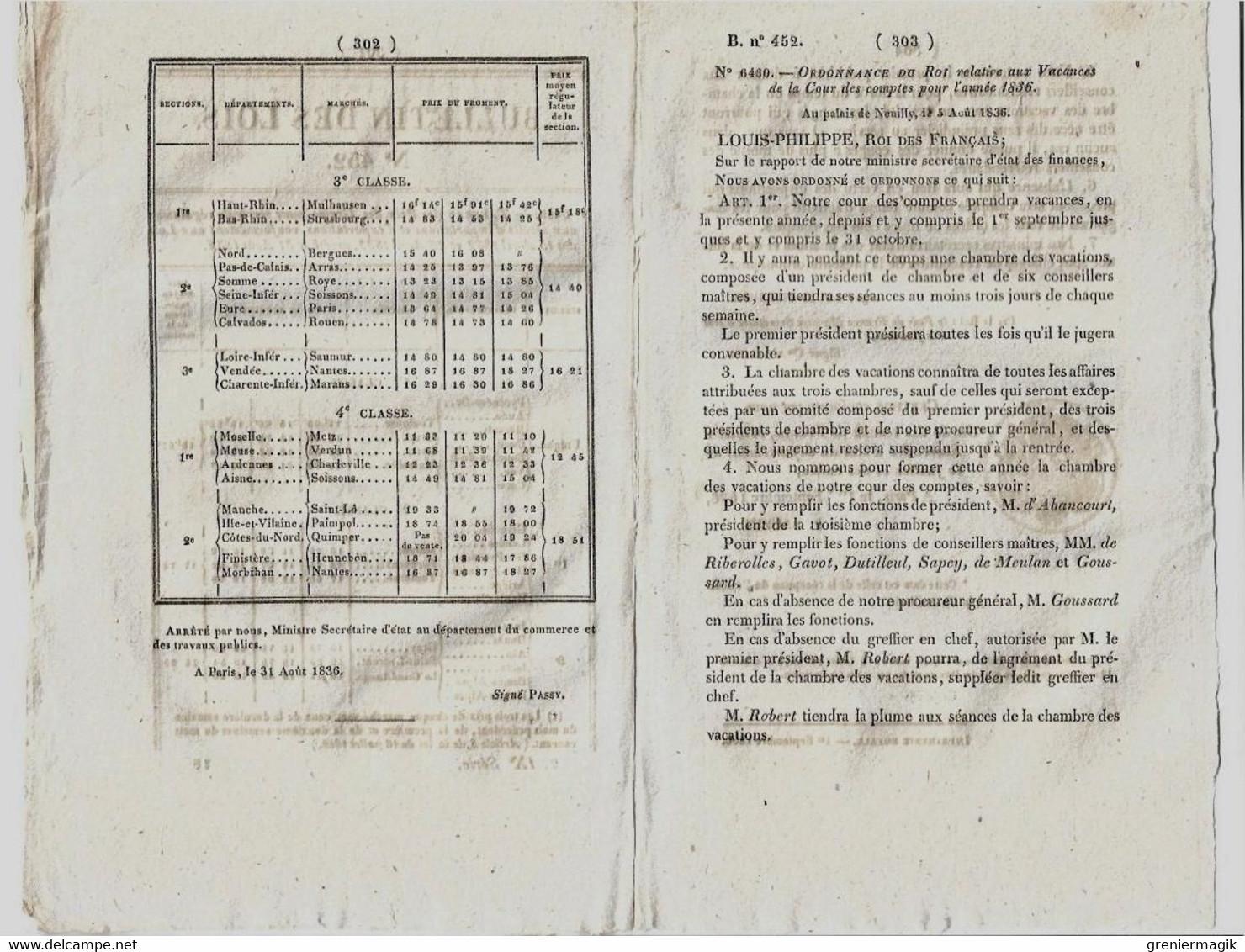 Bulletin Des Lois N°452 1836 Vacances Cour Des Comptes (M. Le Vicomte Harmand D'Abancourt Etienne...)/Prix Des Grains - Decrees & Laws