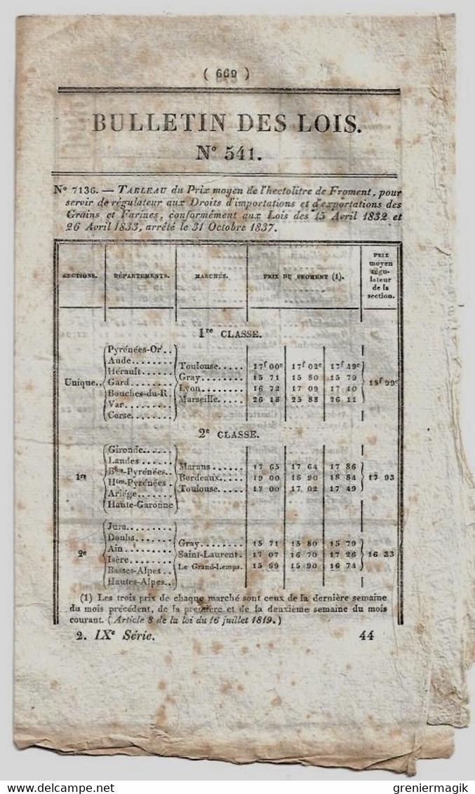 Bulletin Des Lois N°541 1837 Comptoir D'escompte De Saint-Quentin (Aisne)/Cavaillon Routes Départementales/Prix Froment - Decrees & Laws
