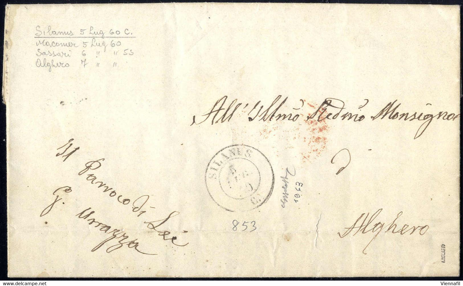 """Cover """"Silanus"""" Bollo D.c.C In Nero Su Lettera Del 5.7.60 Per Alghero (Punti 13) - Sardinië"""