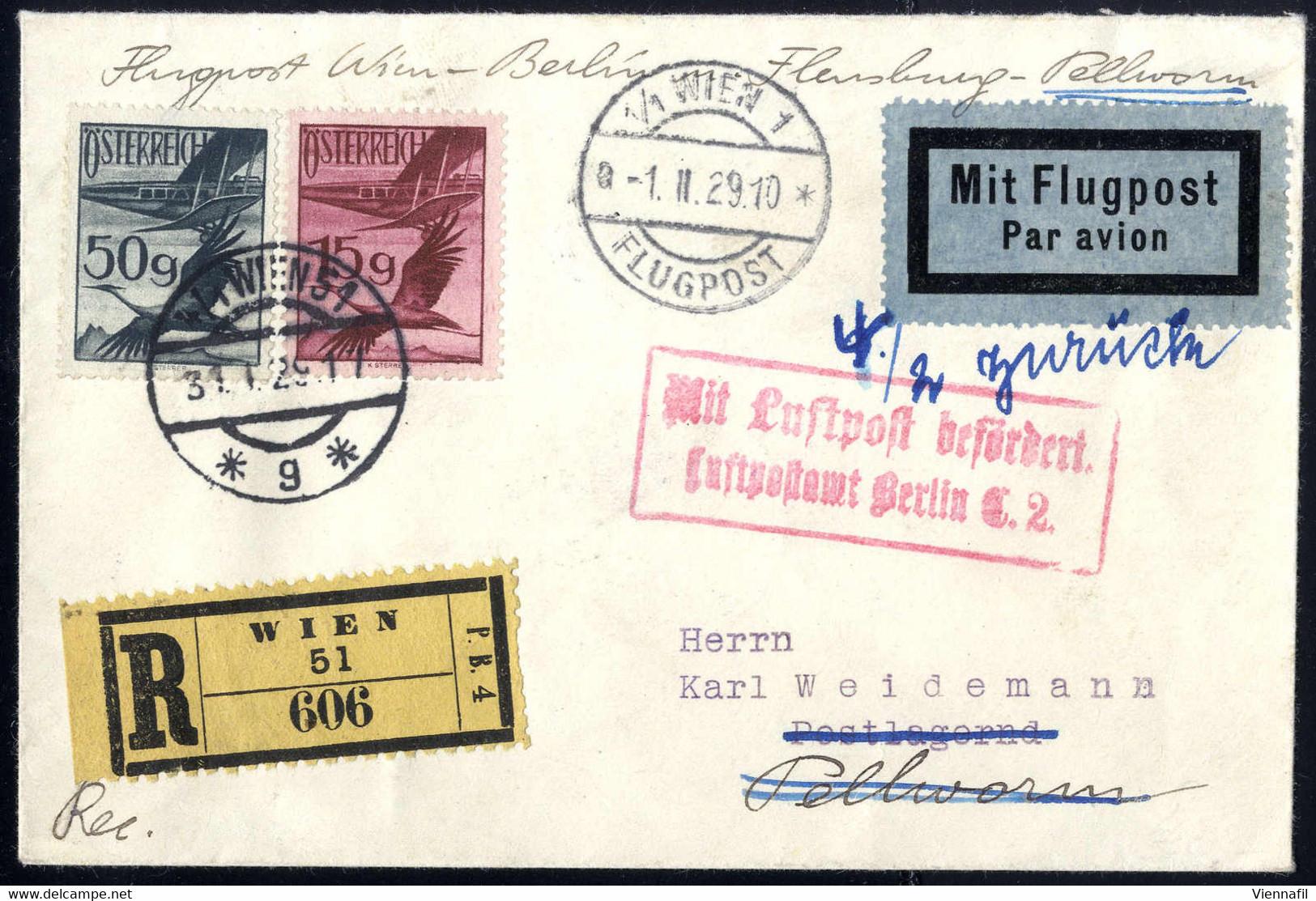 Cover 1929, Flugpost Wien - Berlin - Flensburg - Pellworm, Frankierter Brief Von Wien 1.2.1929 Nach Pellworm, Am 4.2. An - Luftpost