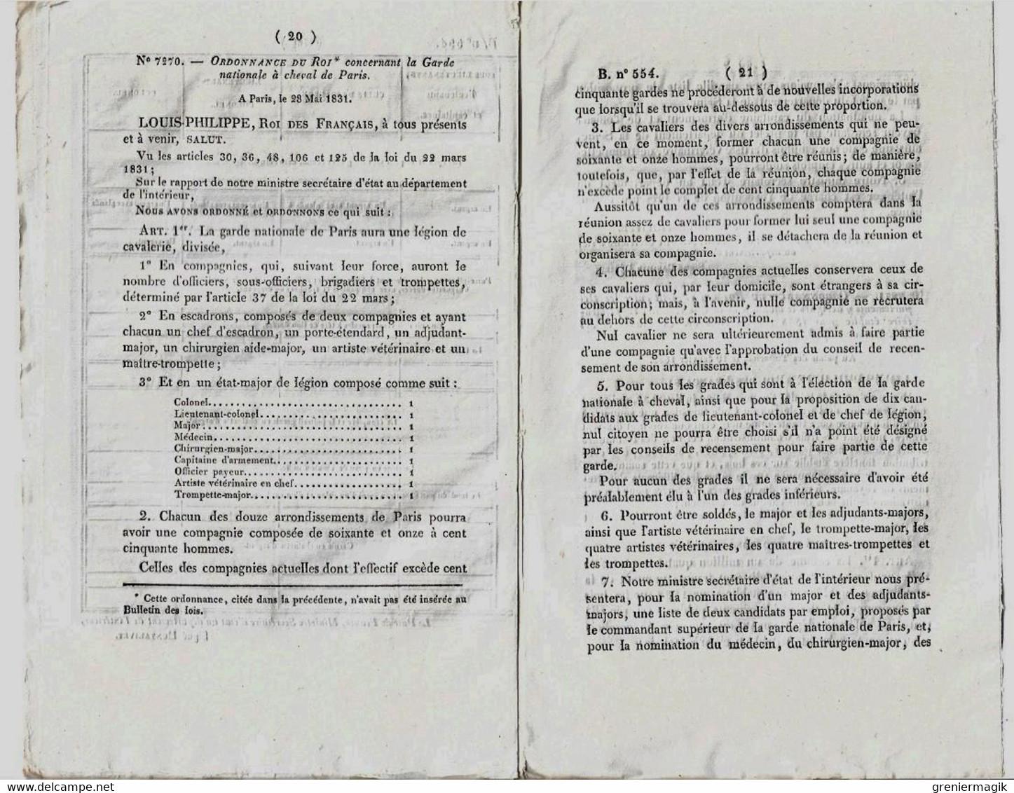 Bulletin Des Lois N°554 1838 Organisation De La Légion De Cavalerie De La Garde Nationale De Paris/Garde à Cheval... - Decrees & Laws