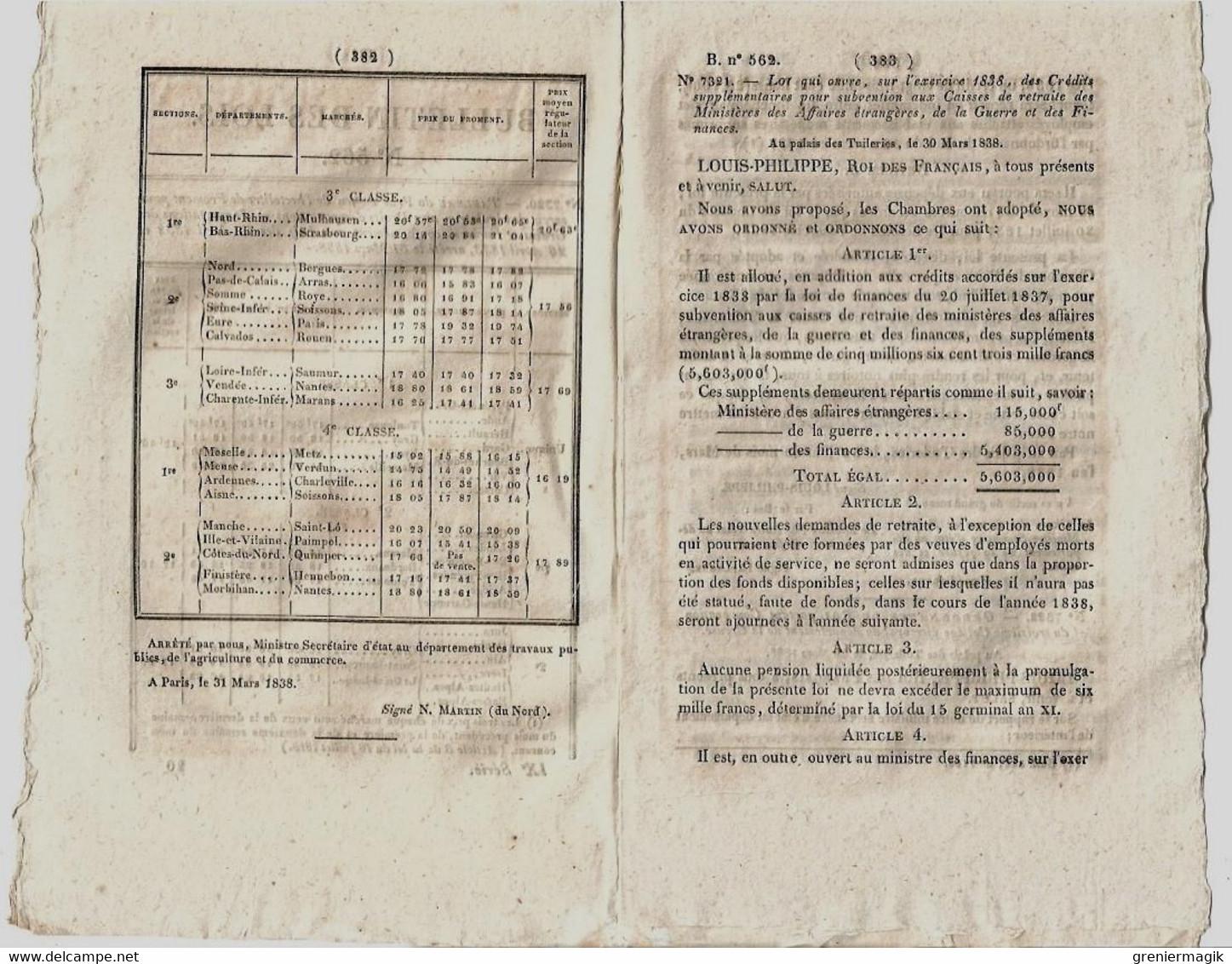 Bulletin Des Lois N°562 1838 Sapeurs-porte-haches De La Garde Nationale De Paris/Musique Des Légions../Emile De Girardin - Gesetze & Erlasse
