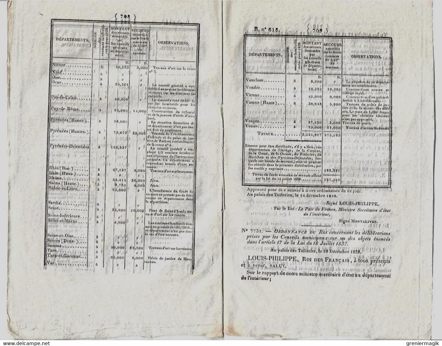 Bulletin Des Lois N°618 1839 Conseils Municipaux/Travaux Ouvrages D'art Dépendant Routes Départementales/Bois De Marine - Decrees & Laws