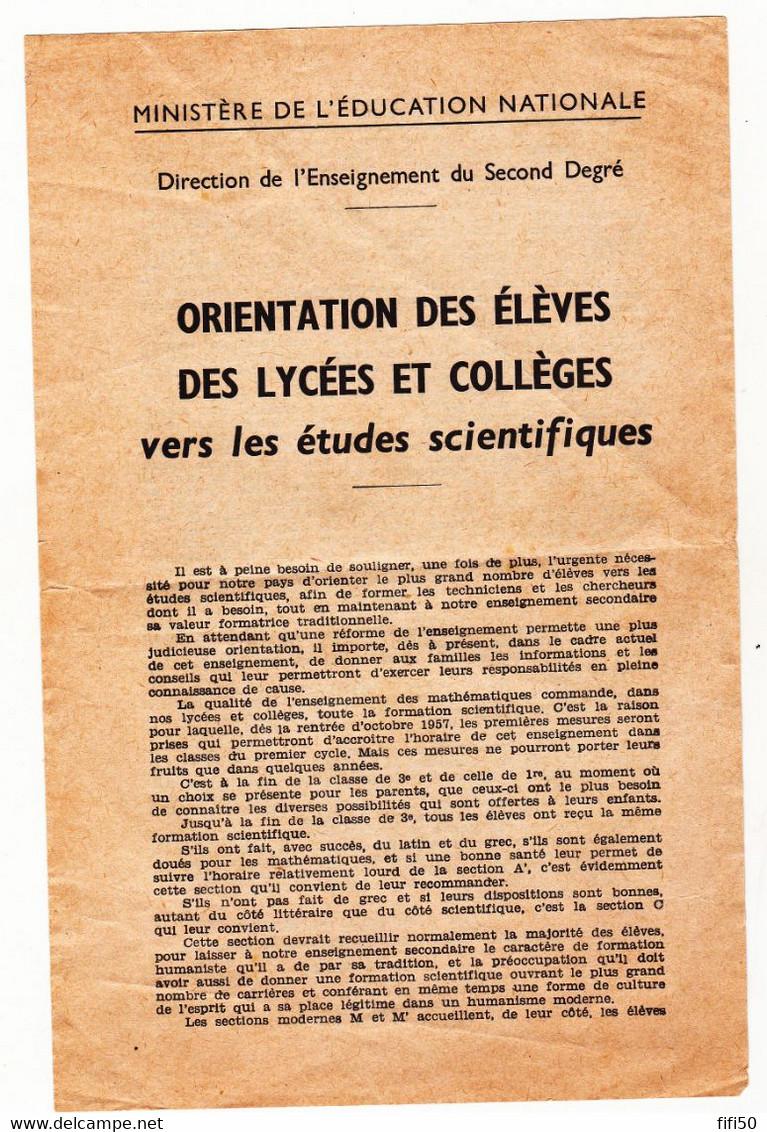 Circulaire Du D. G. De L'enseignement Second Degré C Brunold Concernant Orientation Vers Des études Scientifiques - Decrees & Laws