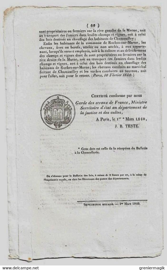 Bulletin Des Lois N°713 1840 Création D'un Commissariat De Police à Bourbon-Lancy (Saône Et-Loire)/Prix Froment - Decrees & Laws