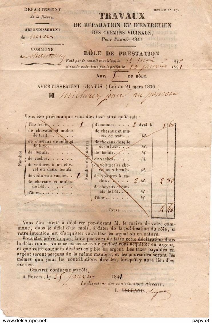 Vieux Papiers > Décrets & Lois Chantenay St Imbert Travaux De Reparation Et D Entretien Des Chemins Vicinaux 1841 - Decrees & Laws