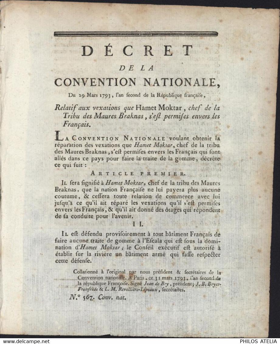 Décret Convention Nationale 1793 Interdiction Commerce Gomme Avec Hamet Moktar Chef Tribu Maures Braknas Sénégal - Decrees & Laws