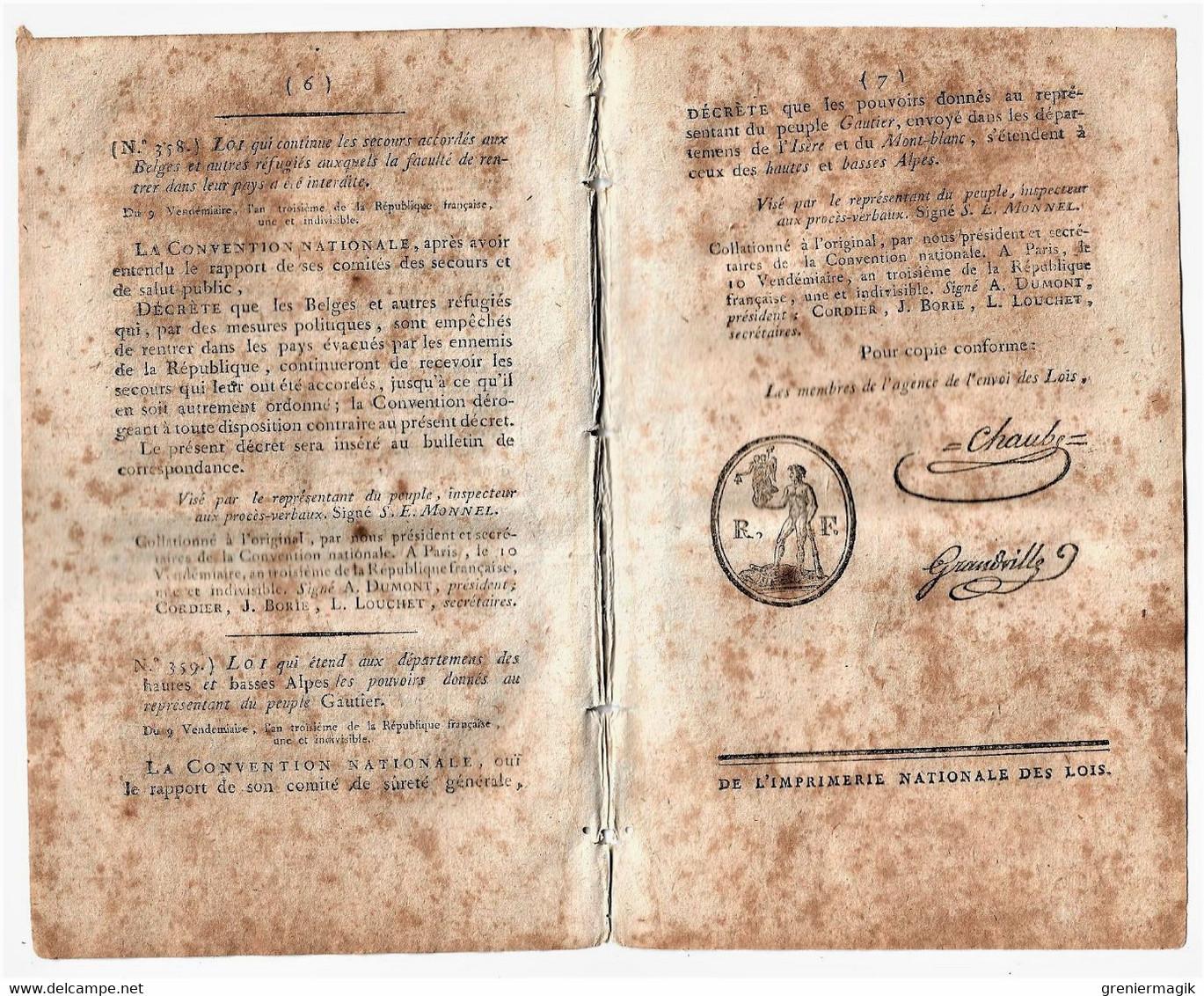 Bulletin Des Lois N°66 Vendémiaire An III 1794 Affaire Des Colonies/Secours Aux Belges Et Réfugiés/Gauthier Des Orcières - Décrets & Lois