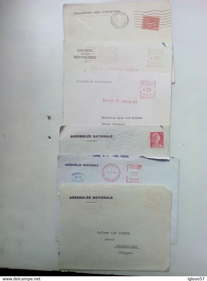 Lot De 6 Enveloppes Entête Chambre Des Députés Ou Assemblée Nationale Oblitérations Mécaniques - Decrees & Laws