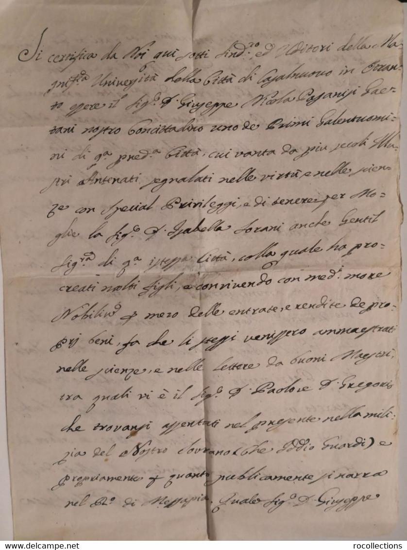 Italy Ancient Notarial Deed Italia Atto Notarile Università Città Di Casalnovo (MANDURIA) Giuseppe Nicola Pasanisi 1788 - Decrees & Laws