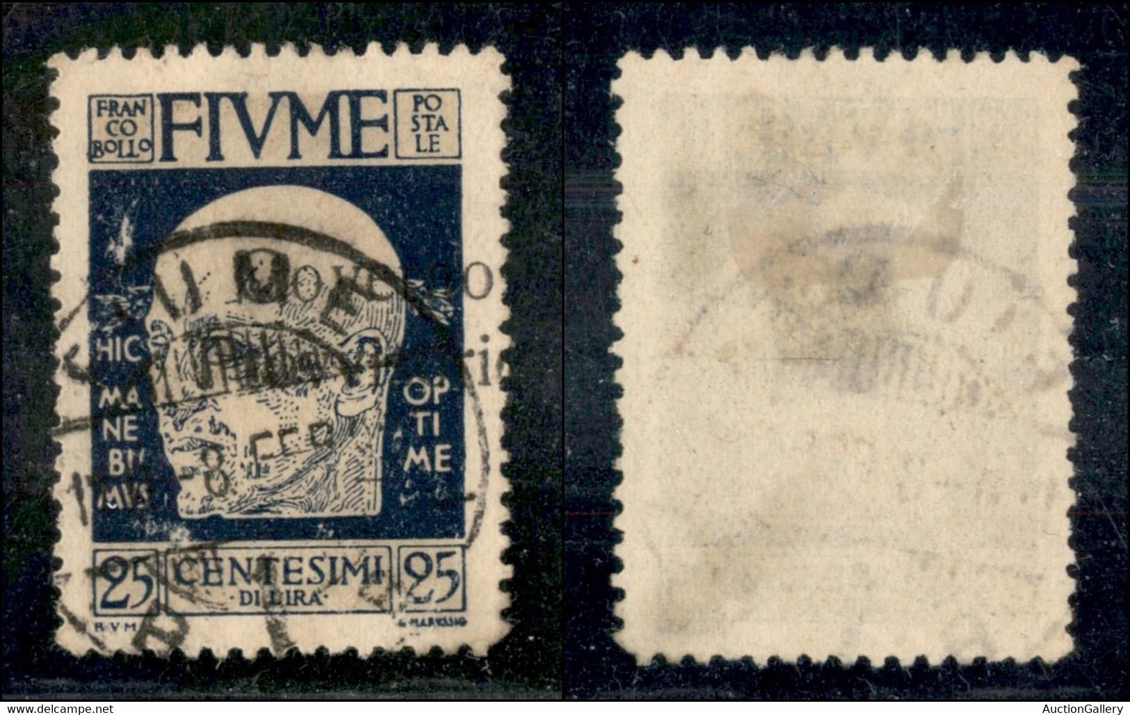 Occupazioni I Guerra Mondiale - Fiume - 1921 - 25 Cent Governo Provvisorio (153oh) Usato - O Di Provvisorio A Cavallo (s - Non Classificati