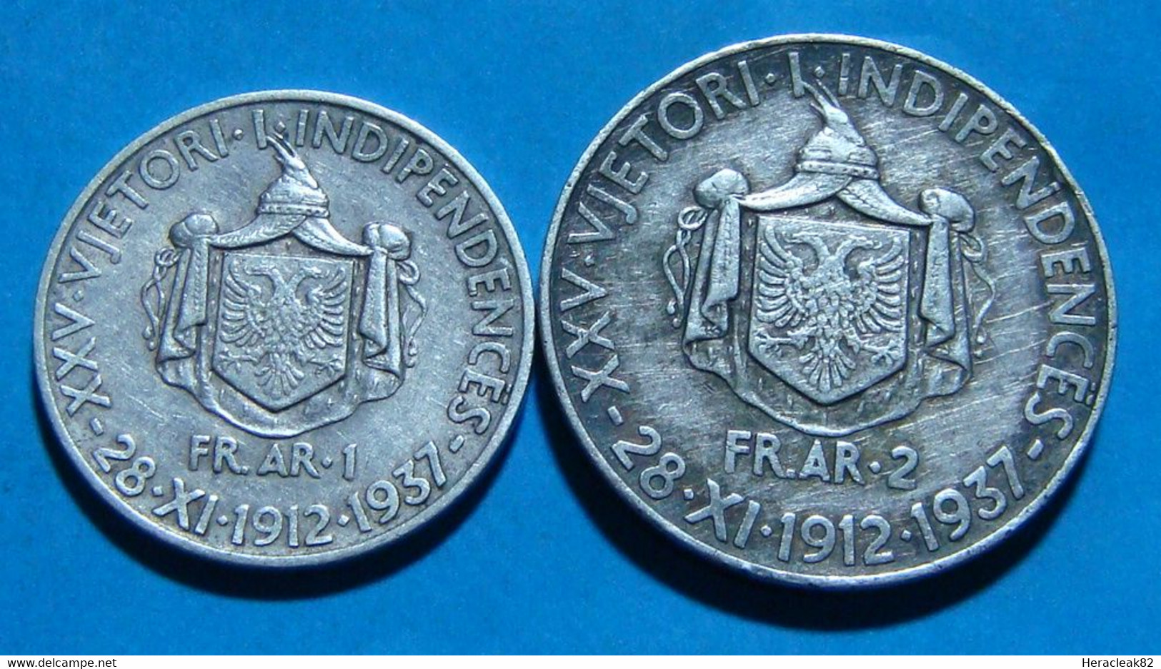 Albania 1and 2  Frang Ar 1937 Silver Coin ANNIVERSARY KM# 18 And 19 - Albania