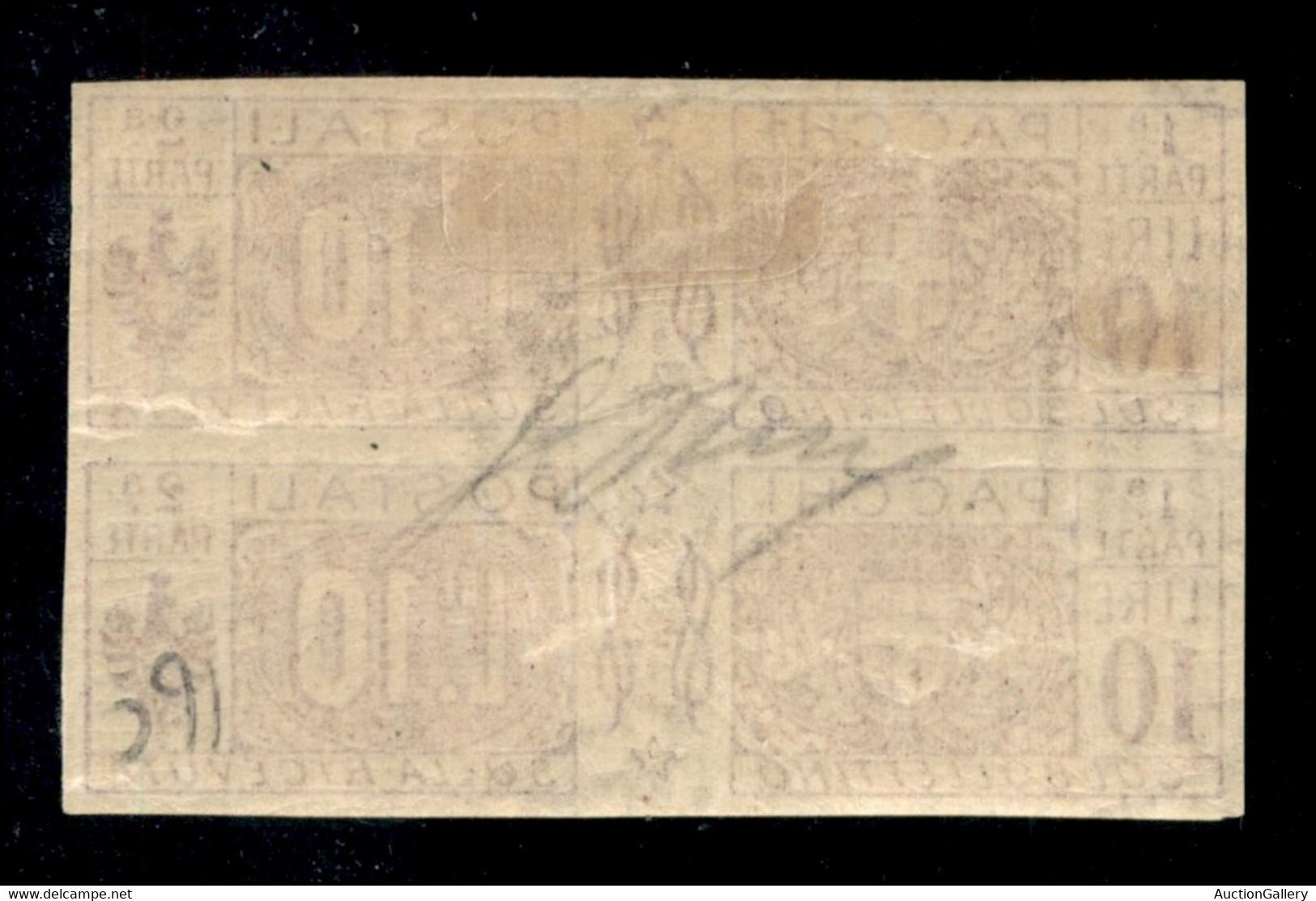Regno - Servizi - Pacchi Postali - 1921 - Coppia Del 10 Lire (16f) Non Dentellata - Pezzo Superiore Con Linguella - Gomm - Non Classificati