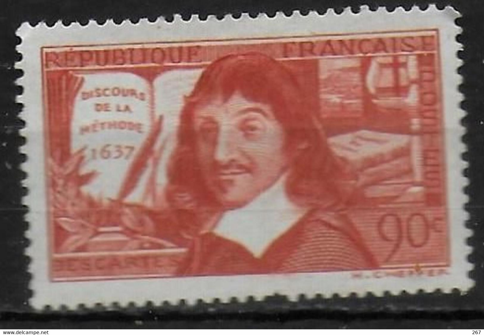FRANCE  N° 342 *  ( Cote 7e ) René Descartes  Discours De La Methode - Airplanes