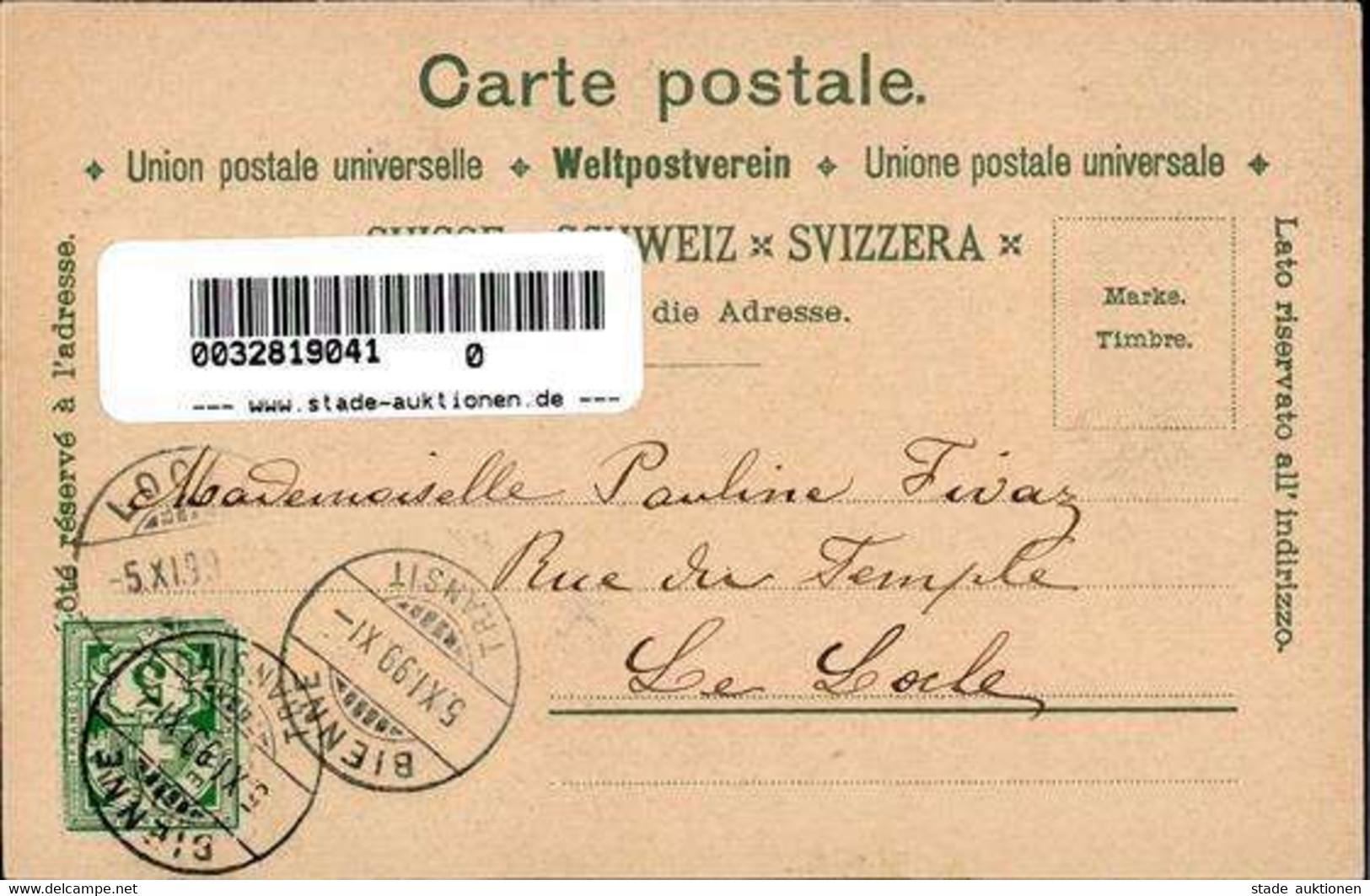 Biel/Bienne (2500) Schweiz Hotel Magglingen Tracht Lithographie 1899 I- - Forst