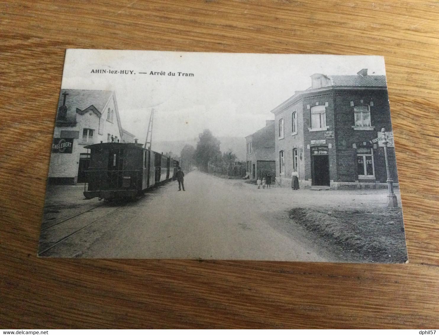 CP Ancienne De Ahin-Lez-Huy : Arrêt Du Tram + Tram (1917) Superbe - Huy