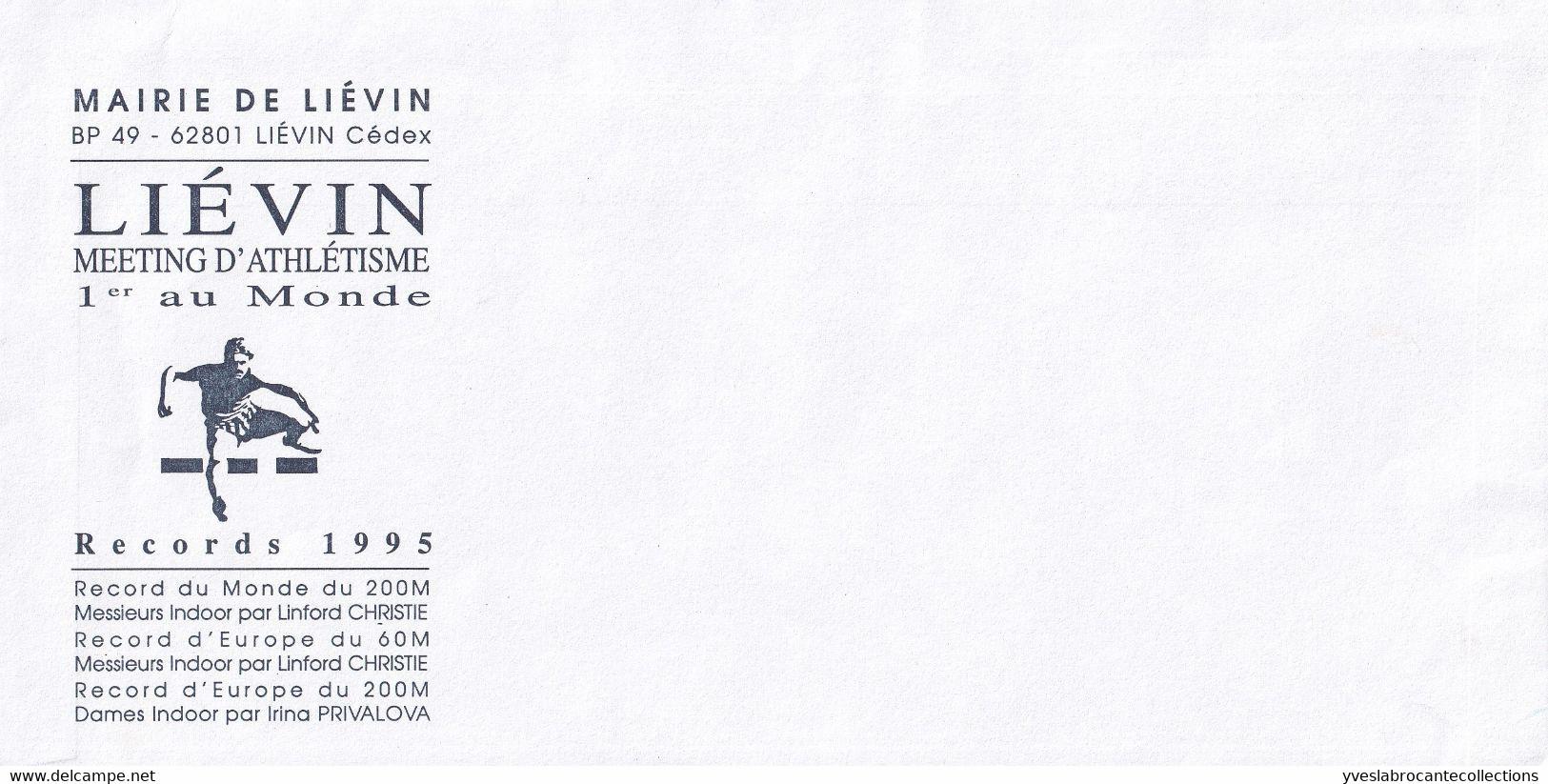 Enveloppe Vierge à En-tête Mairie De Liévin - 62 - Meeting D'Athlétisme 1er Au Monde - Records 1995 , Avec Liste - Advertising