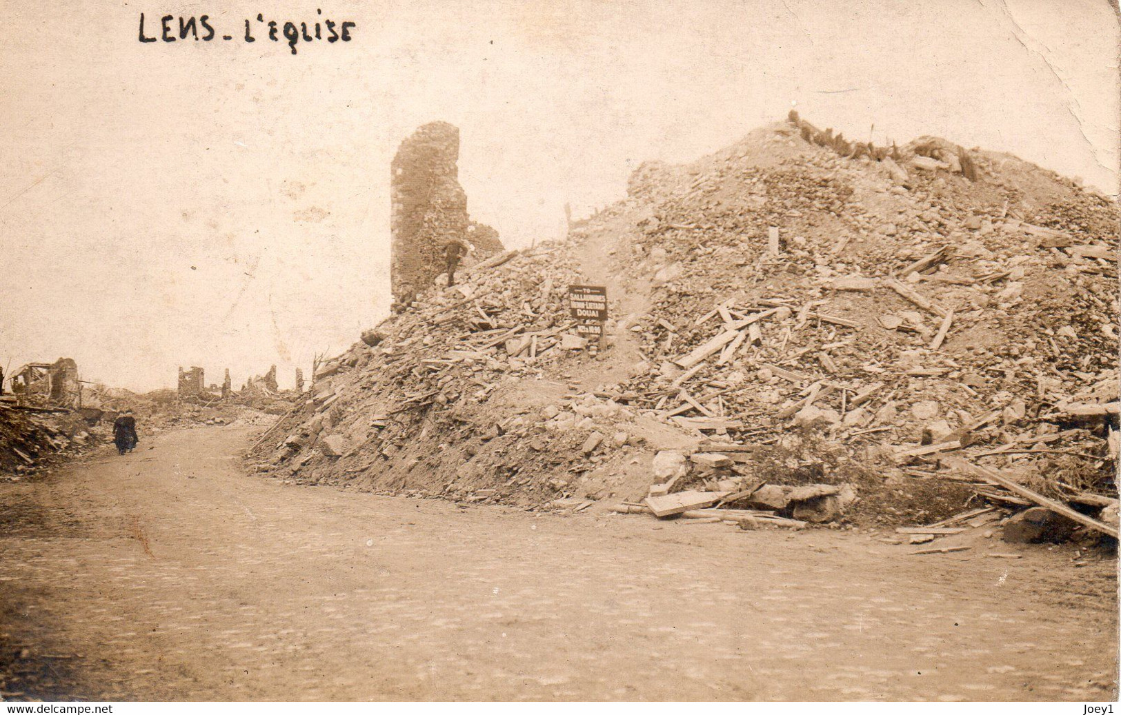 6 Cartes Photos Lens Détruit En 1919 - War 1914-18
