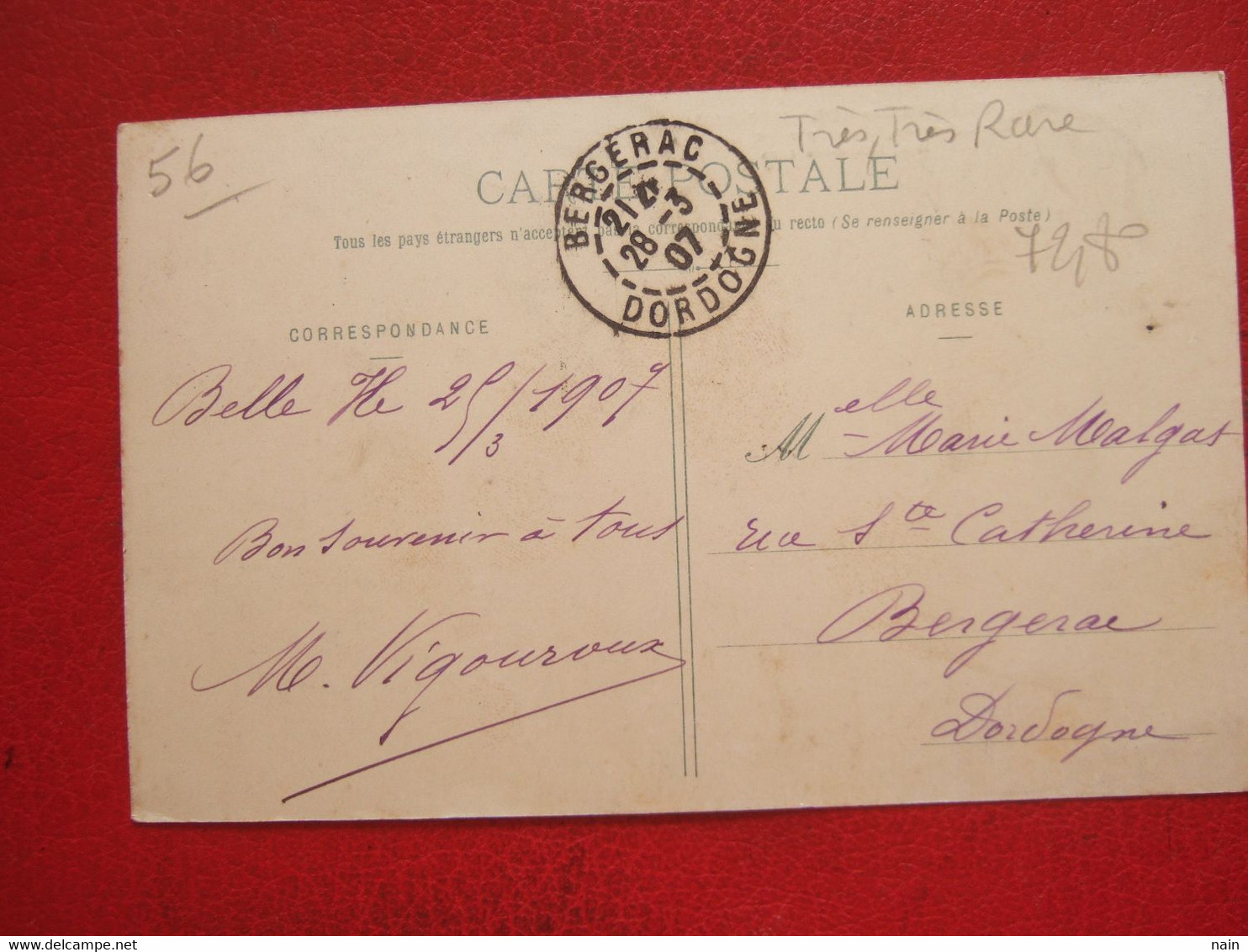 "56 - BELLE ISLE EN MER - ILE EN MER - "" BENEDICTOPN DE L'EGLISE PAR Mgr GOURAUD LE 25 NOV 1906 ""   --"" TRES, TRES RARE "" - Belle Ile En Mer"
