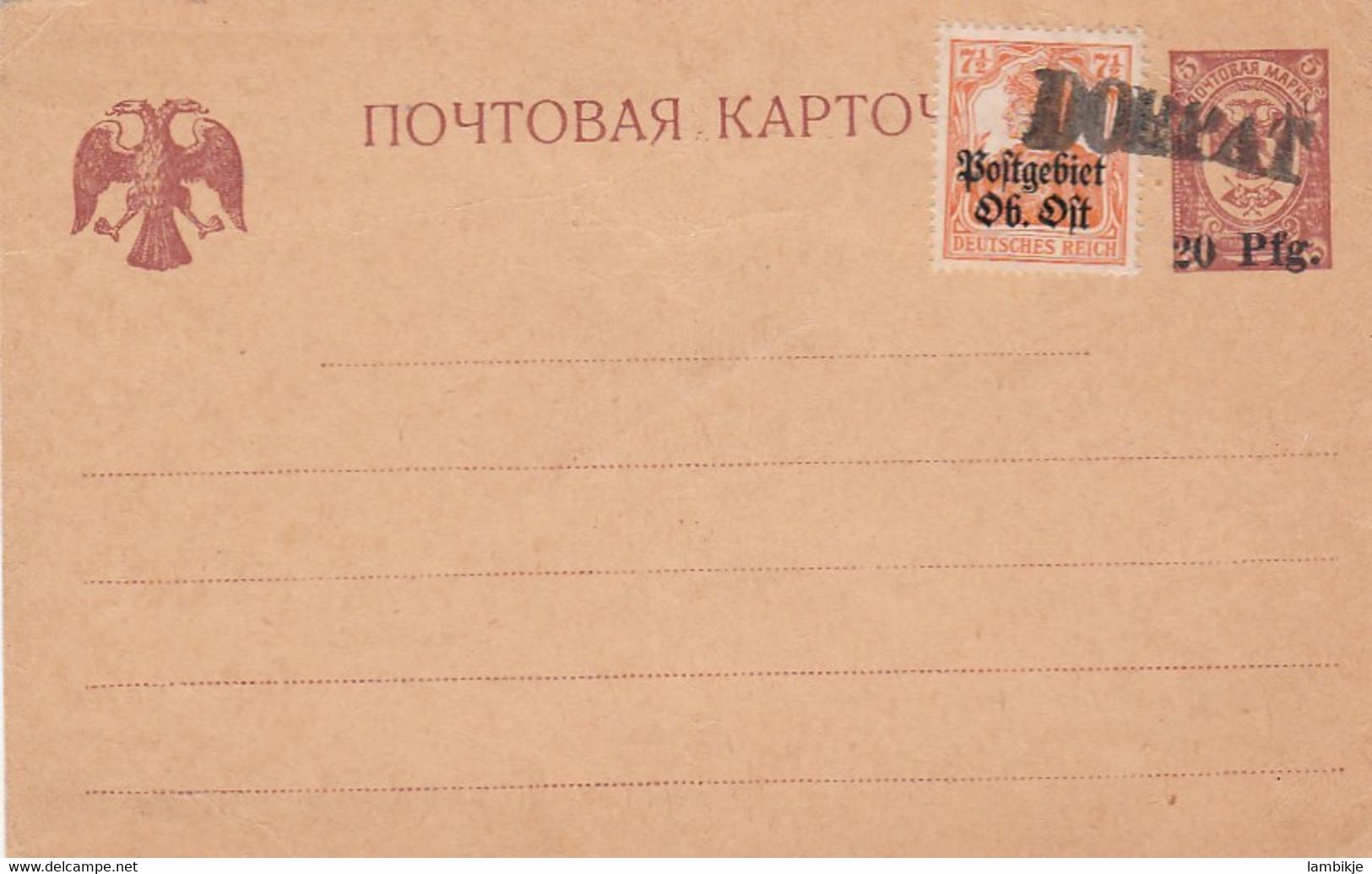 Deutsches Reich Postgebiet Ost Postkarte 1918 - Used Stamps