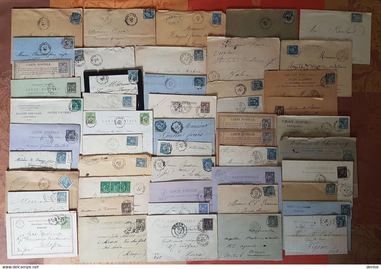 France - Lot De 50 Lettres Et Cartes - TOUS AU TYPE SAGE - DEPART 1 EURO - 1877-1920: Semi Modern Period