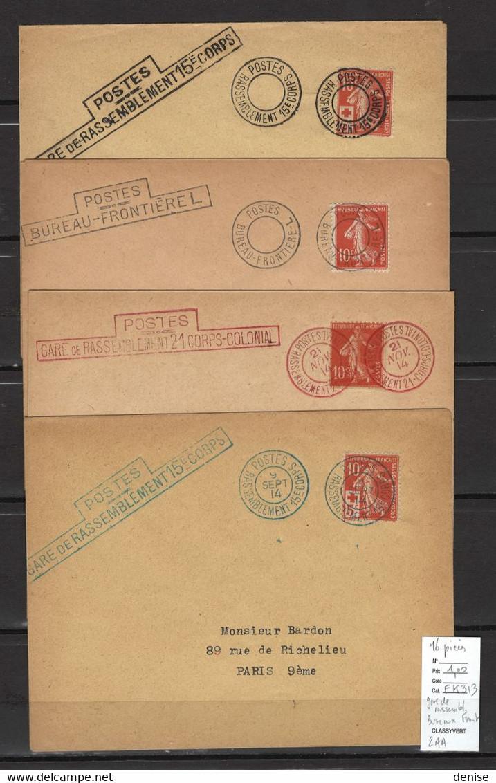 France - Guerre 14-18 - DEPART 1 EURO - Gares De Rassemblement ; Bureaux Frontieres ; Etc  16 Piéces - WW I