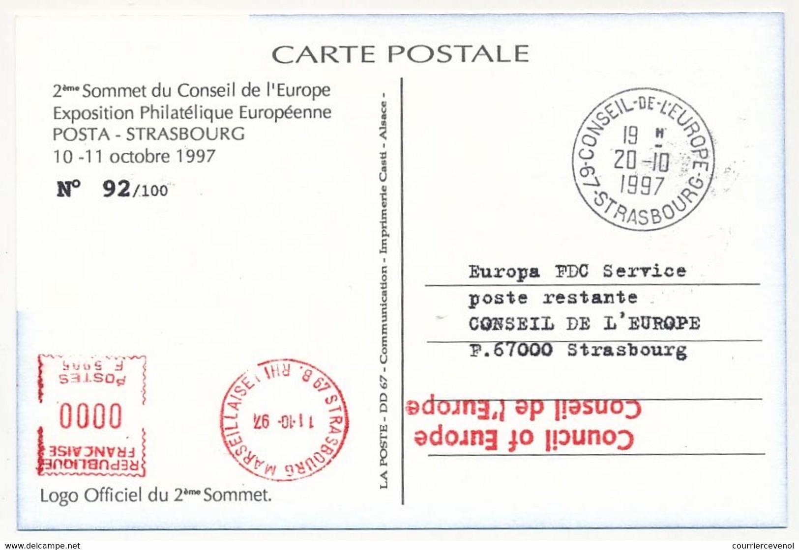FRANCE - CP Affr 3,00 Conseil Europe Obl 2eme Sommet C.E Strasbourg 10/11/10/1967 + Vignette Jacques CHIRAC - Lettres & Documents