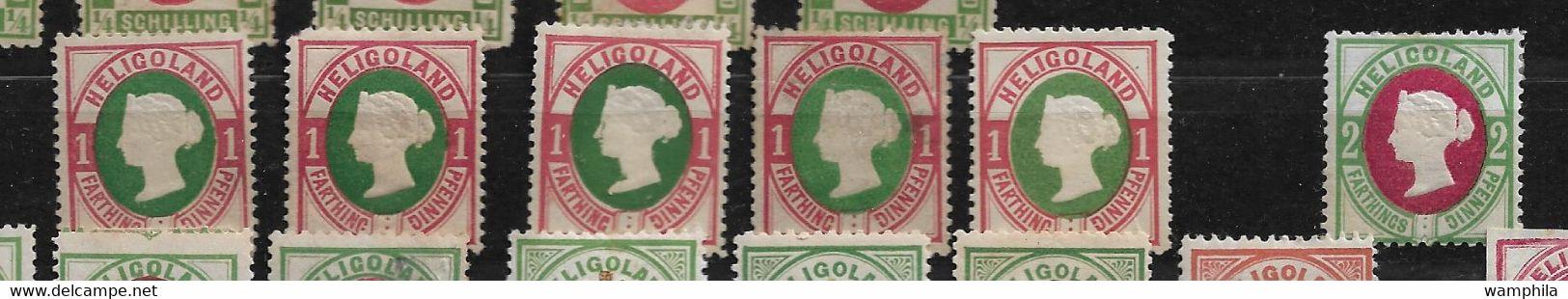 Heligoland, Originaux Et Réimpressions Un Lot De 41 Timbres Pour étude. - Collections (without Album)