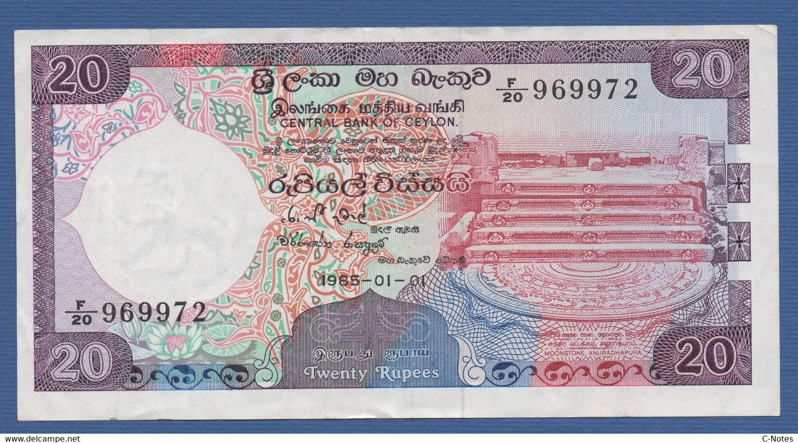 CEYLON & SRI LANKA - Central Bank Of Ceylon - P.93b – 20 RUPEES 1985 VF+ Serie F/20 969972 - Sri Lanka