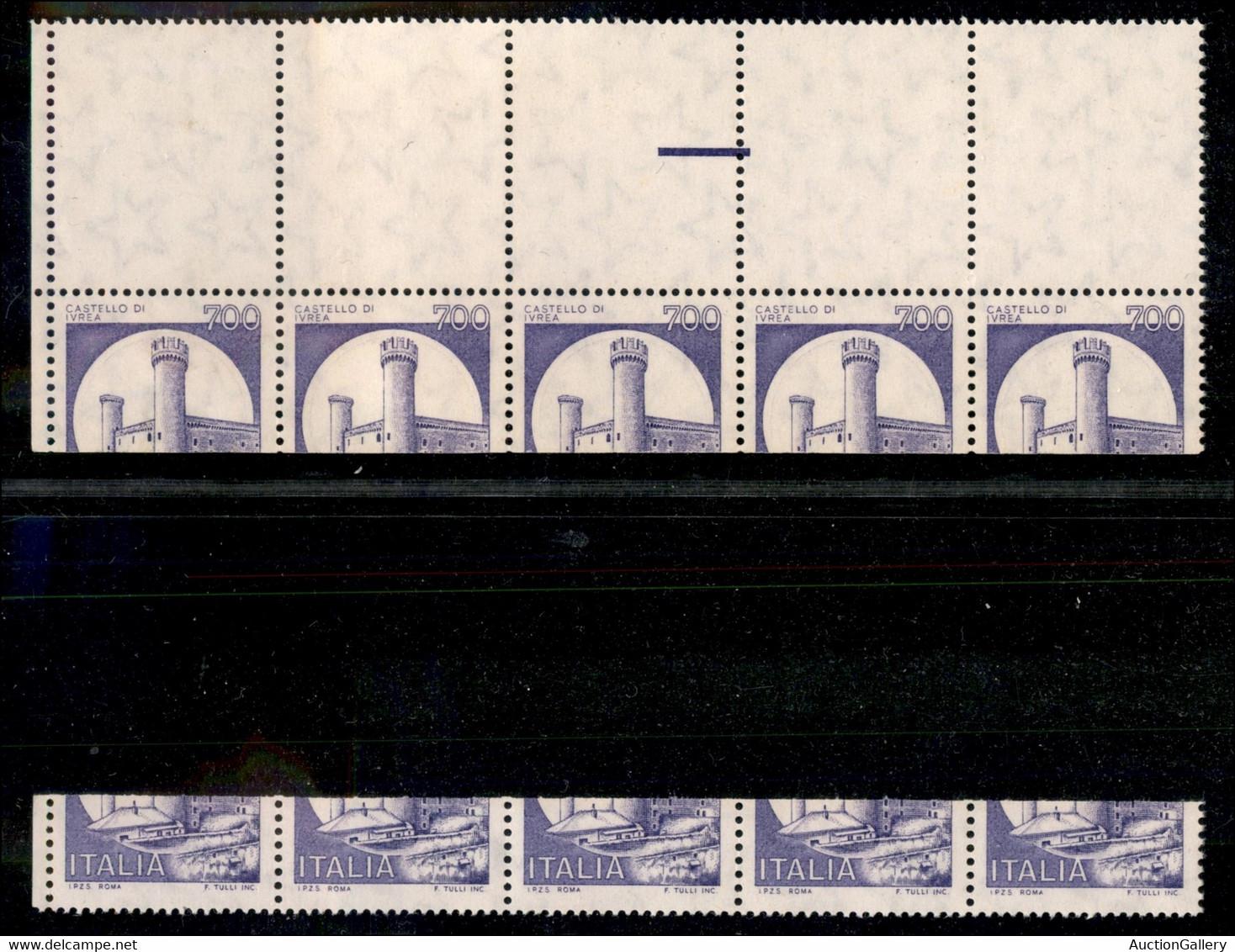 Repubblica - Posta Ordinaria - 1980 - Naturale (viola) - Errore Di Taglio - 700 Lire Ivrea (1523 Varietà) - Striscia Ori - Non Classificati
