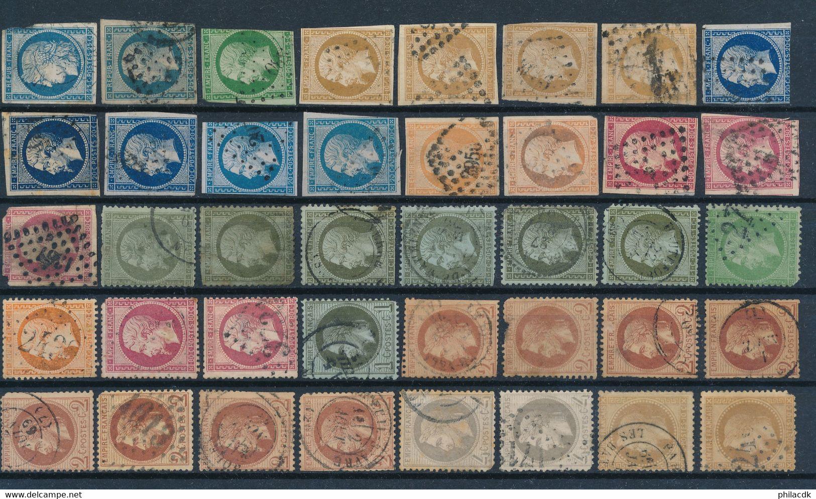 FRANCE - 5 PAIRES N°32 ET + DE 650 TIMBRES OBLITERES CLASSIQUES NAPOLEON DENTELES NON DENTELES LAURES CERES SAGE - Collections