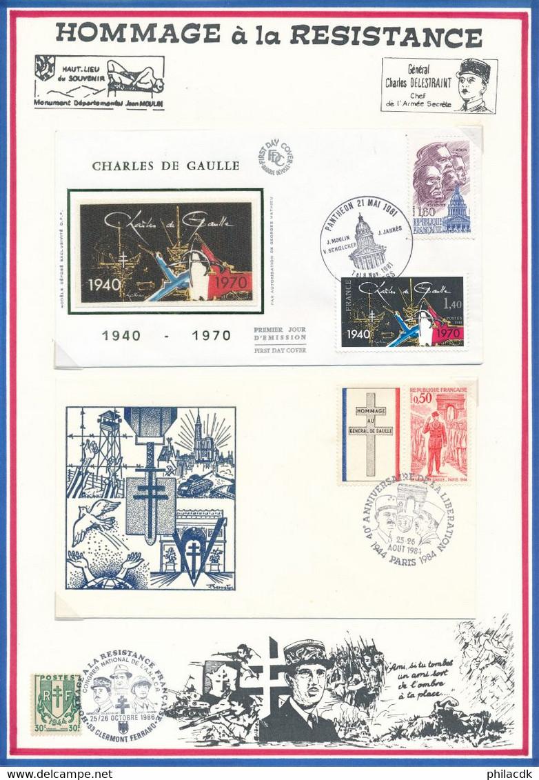 BELLE COLLECTION PRESENTEE SUR 68 PAGES DE PRESENTATION THEME GENERAL DE GAULLE AVEC NON DENTELES ENVELOPPES... - De Gaulle (General)