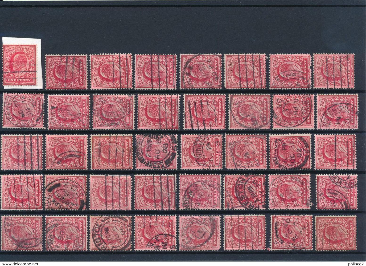 GRANDE BRETAGNE - COLLECTION DE 1818 TIMBRES CLASSIQUES OBLITERES POUR ETUDE DES OBLITERATIONS PAIRES PERFORES TEINTES - Collections