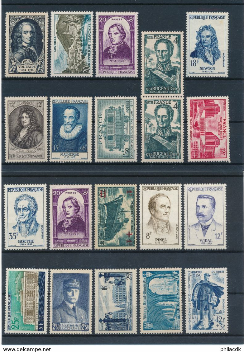 FRANCE AVANT 1960 - LOT DE 294 TIMBRES NEUFS* AVEC CHARNIERE OU GOMME ALTEREE AVEC NOMBREUX PERSONNAGES CELEBRES - Collections
